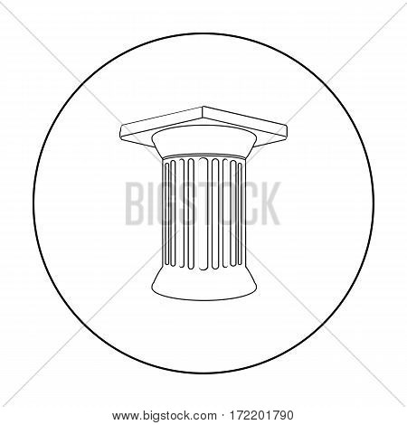 Antique column icon in outline style isolated on white background. Greece symbol vector illustration.