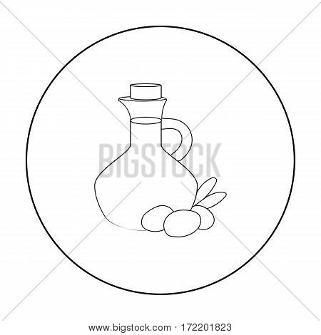 Olive oil bottle with outline olives branch icon in outline style isolated on white background. Greece symbol vector illustration.