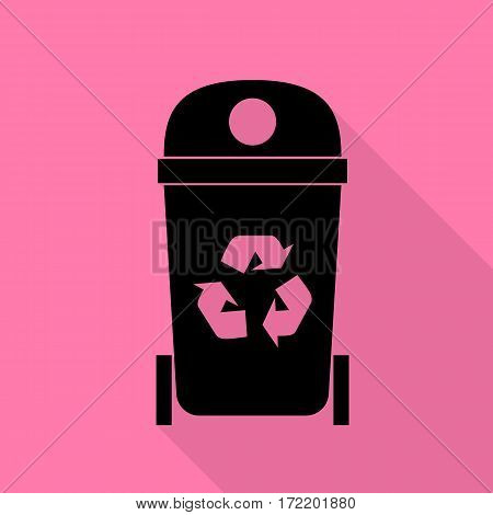 Trashcan sign illustration. Black icon with flat style shadow path on pink background.