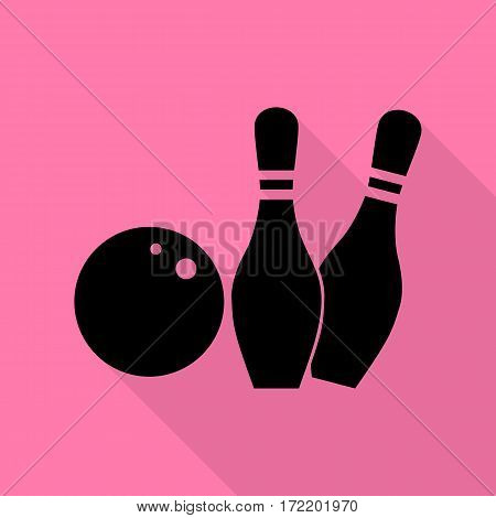 Bowling sign illustration. Black icon with flat style shadow path on pink background.