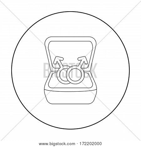 Ring icon outline. Single gay icon from the big minority, homosexual outline.
