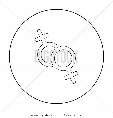 Feminine icon outline. Single gay icon from the big minority, homosexual outline.