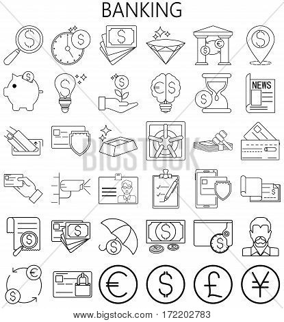 Banking Money and Finance. Thin Line  Icons