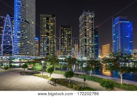 Jumeirah Lakes on Dubai Marina in the city of Dubai