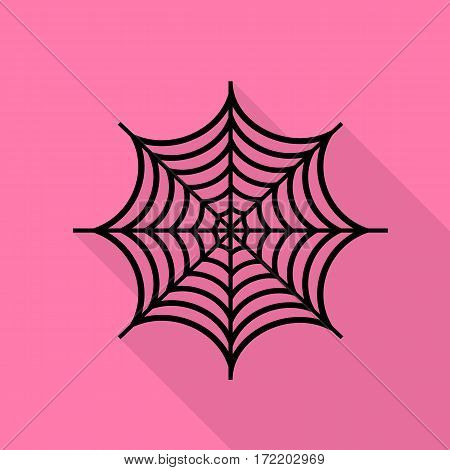 Spider on web illustration. Black icon with flat style shadow path on pink background.