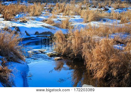 Close up image of a Wisconsin stream in winter.