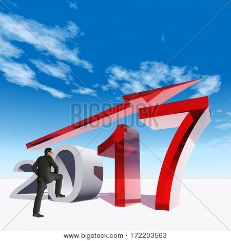 Conceptual 3D illustration human, man or businessman standing over an red 2017 year symbol with an arrow on blue sky white background