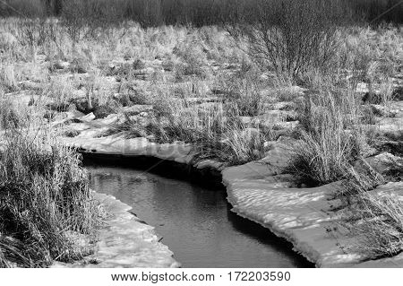 Black and white image of a creek running through a field in the winter.