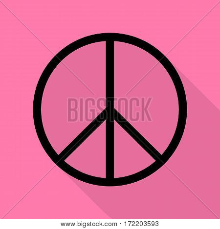 Peace sign illustration. Black icon with flat style shadow path on pink background.