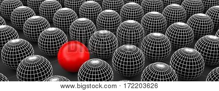 Concept or conceptual 3D illustration wireframe black and white group of spheres or balls with a special different one standing out of crowd background banner