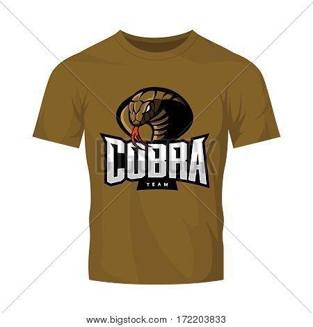 Furious cobra sport vector logo concept isolated on khaki t-shirt mockup. Modern web infographic professional team pictogram. Premium quality wild snake t-shirt tee print illustration.
