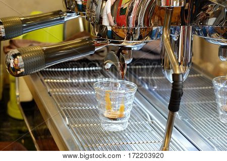 Espresso Machine Brewing A Coffee