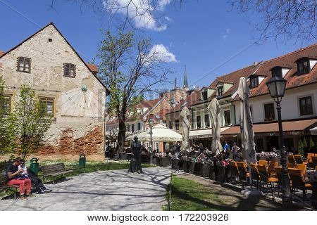 ZAGREB/CROATIA-APRIL 21: Old Tkalciceva street in Zagreb on April 21 2015 in Croatia. It is famous street in the city center with numerous cafes and restaurants.