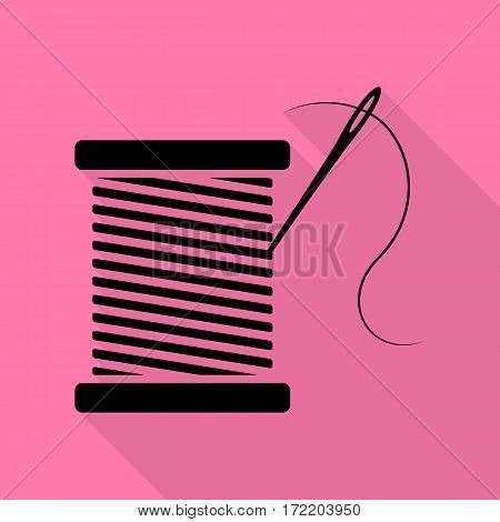 Thread with needle sign illustration. Black icon with flat style shadow path on pink background.