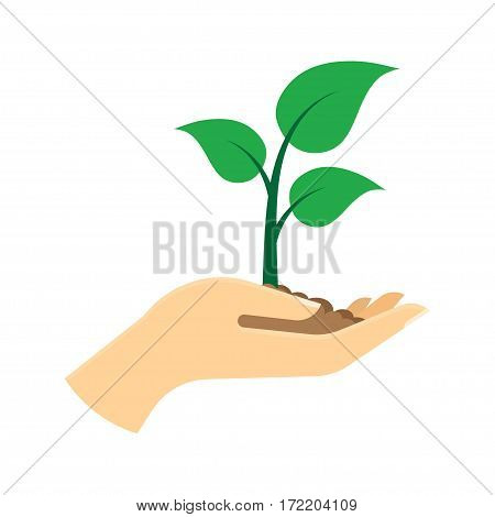 Green sprout in hand. Ecology concept. Vector illustration. Isolated on white background.