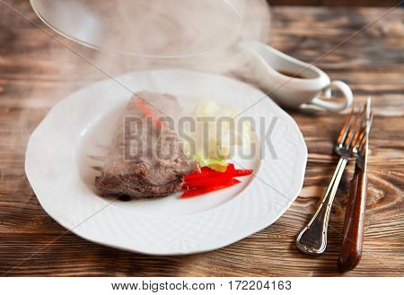 Meat Under A Glass Cloche With Vegetables, Giving About The Steam - Food Time!