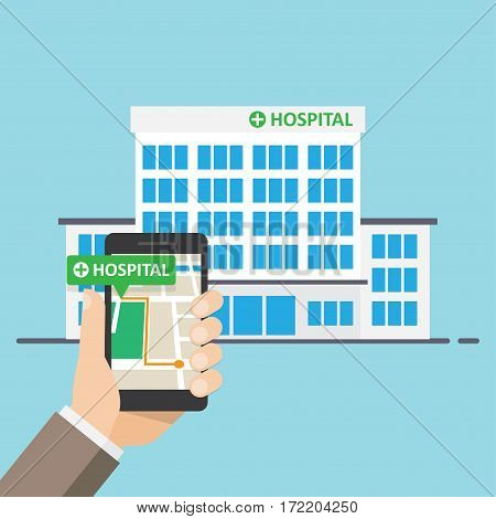 Hospital Pharmacy Pointer on Map Location. Find closest on city map. vector illustration