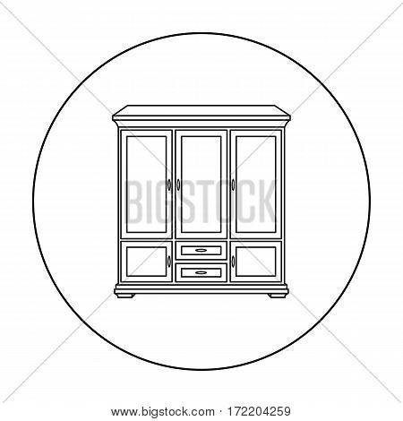 Classical cupboard icon in outline style isolated on white background. Furniture and home interior symbol vector illustration.