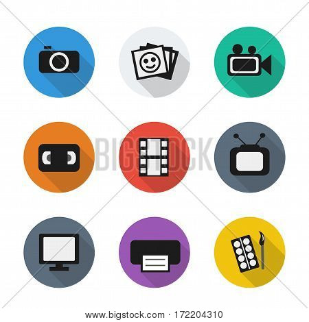 Vector flat visual icons in color rounds. Set