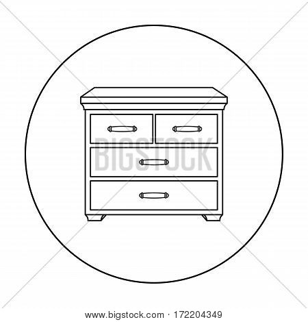 Wooden cabinet with drawers icon in outline style isolated on white background. Furniture and home interior symbol vector illustration.
