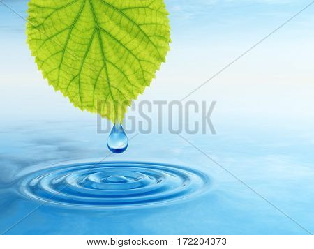 Concept or conceptual clean spring water or dew drop falling from a green fresh leaf on 3D illustration blue clear water making waves