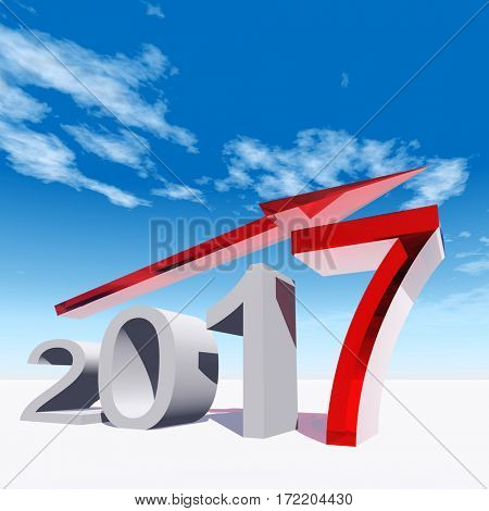 Conceptual 3D illustration red 2017 year symbol with an arrow on blue sky white background