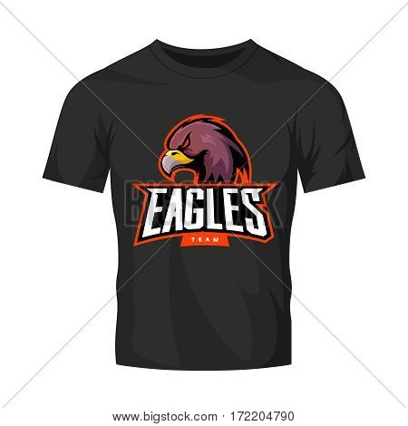 Furious eagle sport vector logo concept isolated on black t-shirt mockup. Modern web infographic professional team pictogram. Premium quality wild bird t-shirt tee print illustration.