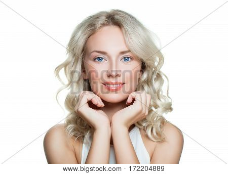 Spa Woman with Healthy Skin Isolated on White Background. Spa Beauty Medicine and Treatment Concept