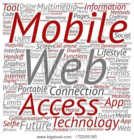 Concept or conceptual mobile web portable multimedia technology square word cloud isolated on background