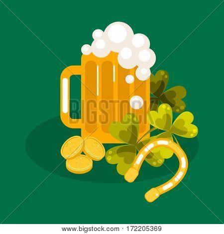 Irish St. Patrick festival vector illustration. Beer, clover leaf and lucky horsesoe.