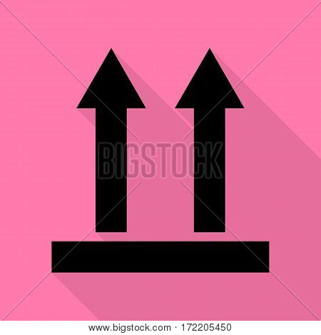 Logistic sign of arrows. Black icon with flat style shadow path on pink background.