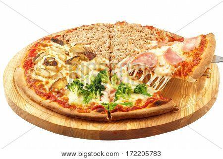 Four Seasons Pizza, mozzarella, onion, ham, tuna, broccoli, mushrooms, button mushrooms isolated on white background