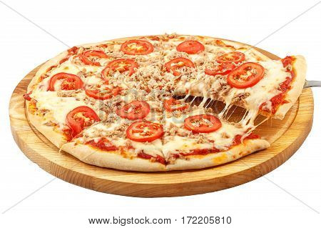 Pizza with tuna, mozzarella, tomatoes, tuna, onion isolated on white background