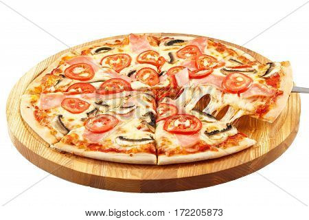 Home Pizza, mozzarella, ham, tomatoes, parsley and mushrooms isolated on white background
