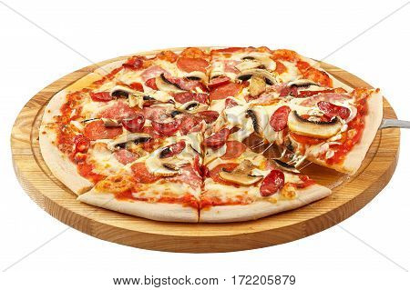 Pizza, mozzarella, pepperoni, salami, hunting sausage, onions, mushrooms isolated on white background