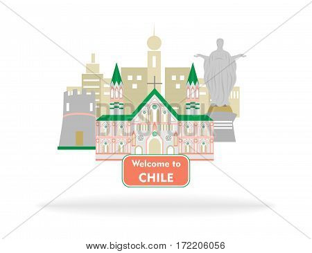 illustration in style of flat design dedicated to chile.