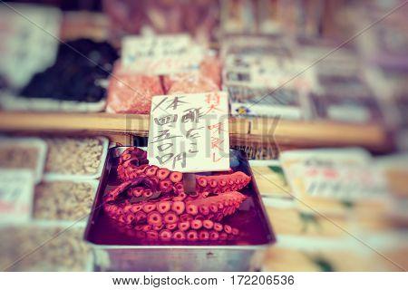 japanese seafood octopus tako in tsukiji market
