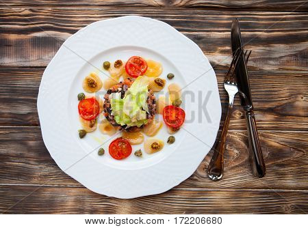 Smoked Salmon Salad With Potato Rosti And Creme Fraiche. Overhead View.