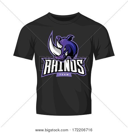 Furious rhino sport vector logo concept isolated on black t-shirt mockup. Modern web infographic professional team pictogram. Premium quality wild animal t-shirt tee print illustration.