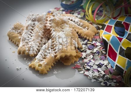 Tipical italian cake Chiacchere for carnival party