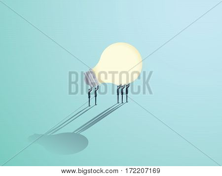 Group of businessmen carrying a lightbulb. Vector symbol of business creativity, innovation and brainstorming. Eps10 vector illustration.
