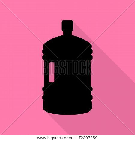 Plastic bottle silhouette sign. Black icon with flat style shadow path on pink background.