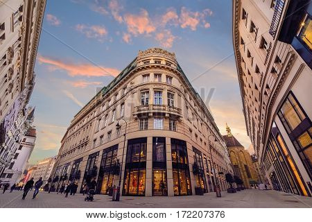 Colorful street in Vienna Austria in sunset.