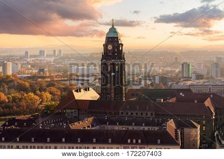 Dresden Town Hall tower in sunset. Saxony Germany.