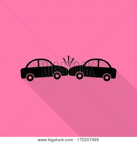 Crashed Cars sign. Black icon with flat style shadow path on pink background.