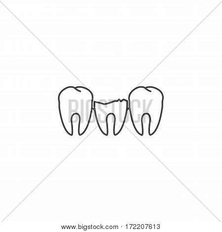 Broken tooth among healthy teeth. Dental disease. Vector illustration.