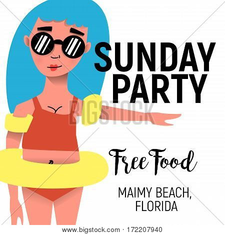 Poster for Sunday party for summer. Girl in swimming suit