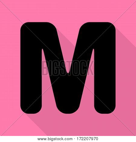 Letter M sign design template element. Black icon with flat style shadow path on pink background.