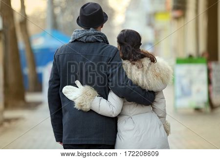 Young couple walking on the street