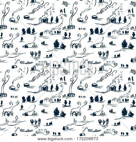 Hand drawn seamless pattern winter landscape with houses in doodle incomplete style. Artistic blue and white illustration of country side. Design element for Christmas wrapping paper cards and posters